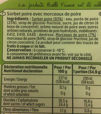 Bac 1L.Sorbet Poire - Ingrédients - fr