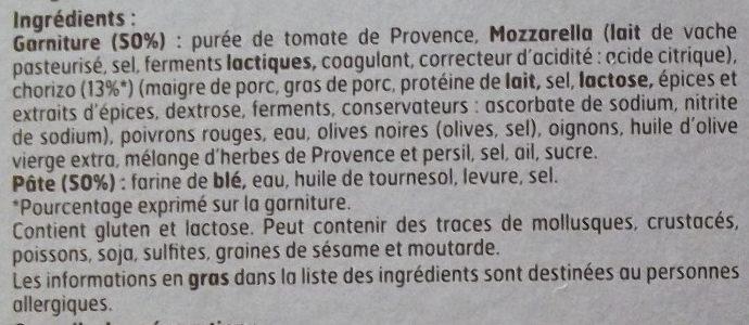 Pizza au chorizo - Ingrédients - fr