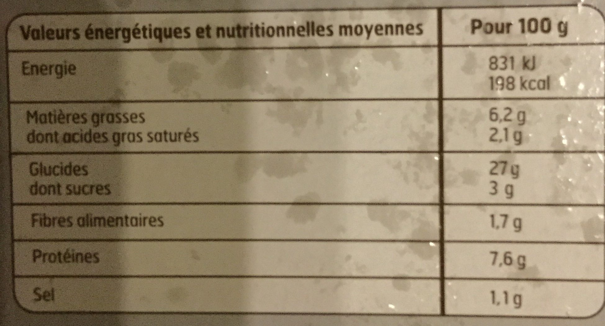 Pizza Jambon Fromage - Nutrition facts
