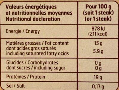 Steack Hache belle France - Informations nutritionnelles