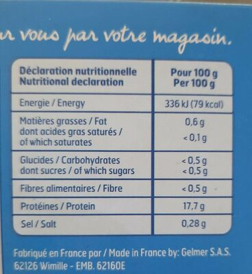 Cabillaud Nature 4X100Gbf, - Informations nutritionnelles