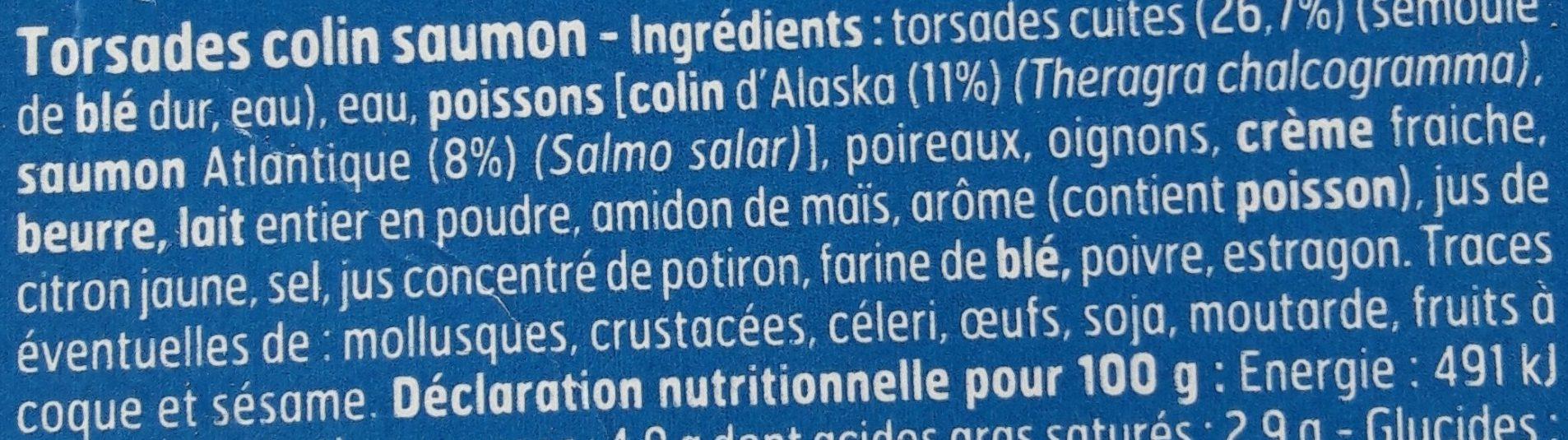 Torsades au Colin et Saumon, Sauce Citronnée - Ingrédients - fr