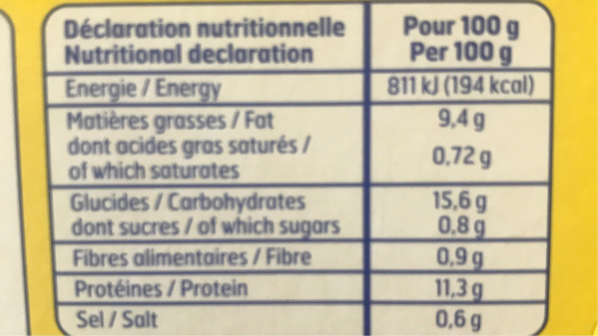 Bat.poisson Pane X10 Bf, - Informations nutritionnelles - fr