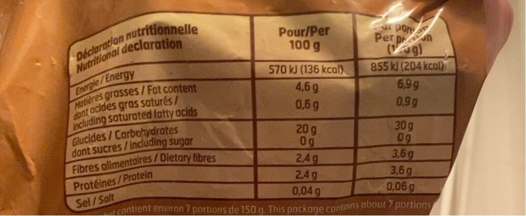 Frites - Informations nutritionnelles - fr