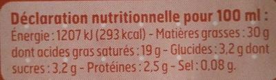 Crème liquide entière (30 % MG) - Nutrition facts - fr