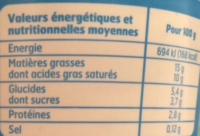 Crème Fraîche Légère (15% MG) - Nutrition facts - fr
