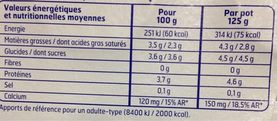 Y.nature Brasse 8X125G.Bf, - Informations nutritionnelles