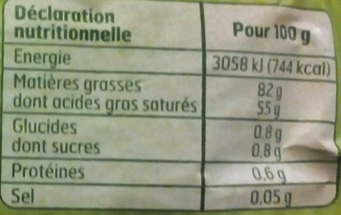 Beurre doux Bio - Informations nutritionnelles
