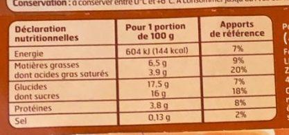 Crème aux œufs saveur vanille - Informations nutritionnelles - fr