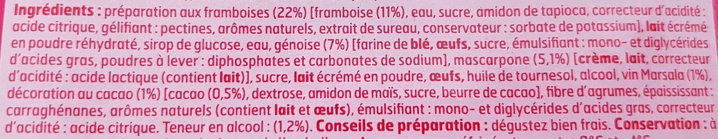 Tiramisù framboise - Ingredients