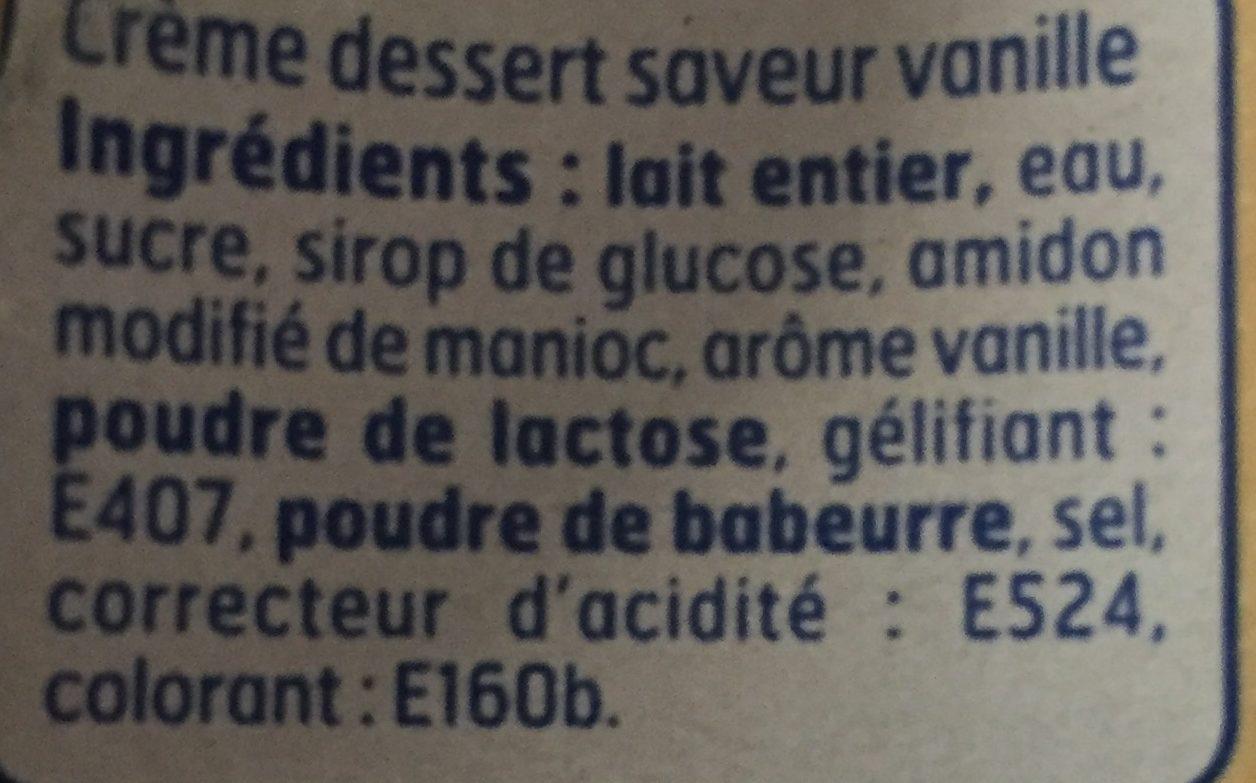 Crème dessert saveur vanille - Ingrediënten - fr