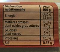 Oeufs frais calibres gros - Nutrition facts