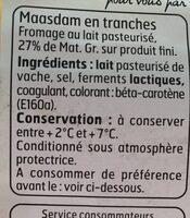 Maasdam en tranches - Ingrediënten