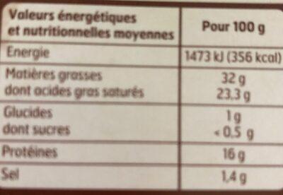 Brique De Vache 200G Bf, - Nutrition facts - fr