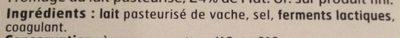 Edam en tranches de Hollande (24% MG) - Ingrediënten - fr