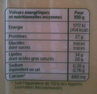 Comté AOP - Informations nutritionnelles - fr