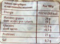 Emmental râpé francais (29% MG) - Informations nutritionnelles - fr