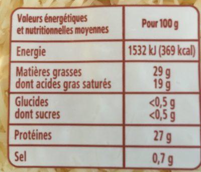 Emmental râpé français - Informations nutritionnelles