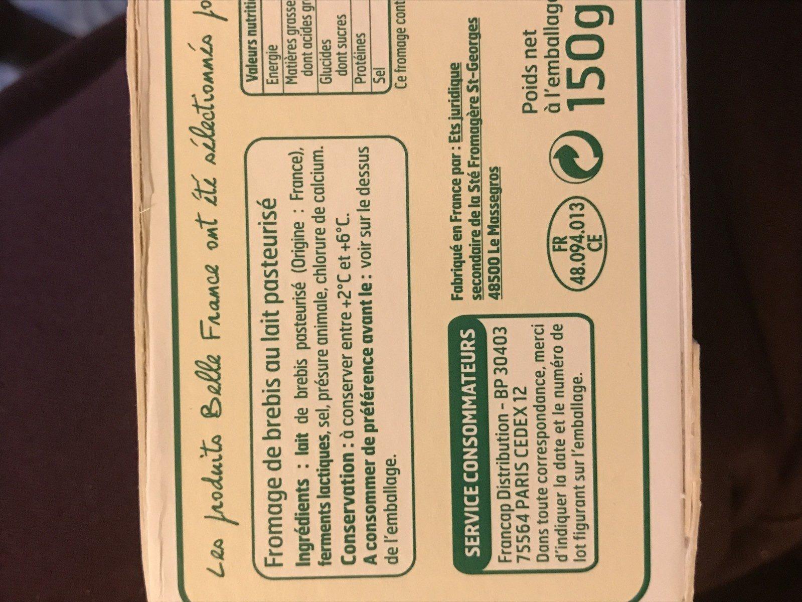Brique de Brebis (26,3% MG) - Ingredientes
