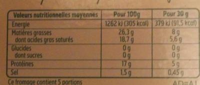 Brique de Brebis (26,3% MG) - Información nutricional