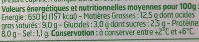 Fromage de Chèvre - Informations nutritionnelles - fr