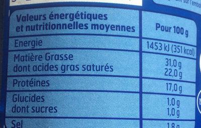 Bleu Lait Entier 250G. Bf, - Informations nutritionnelles - fr