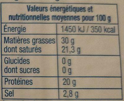 Bleu D'Auvergne 125G - Nutrition facts - fr