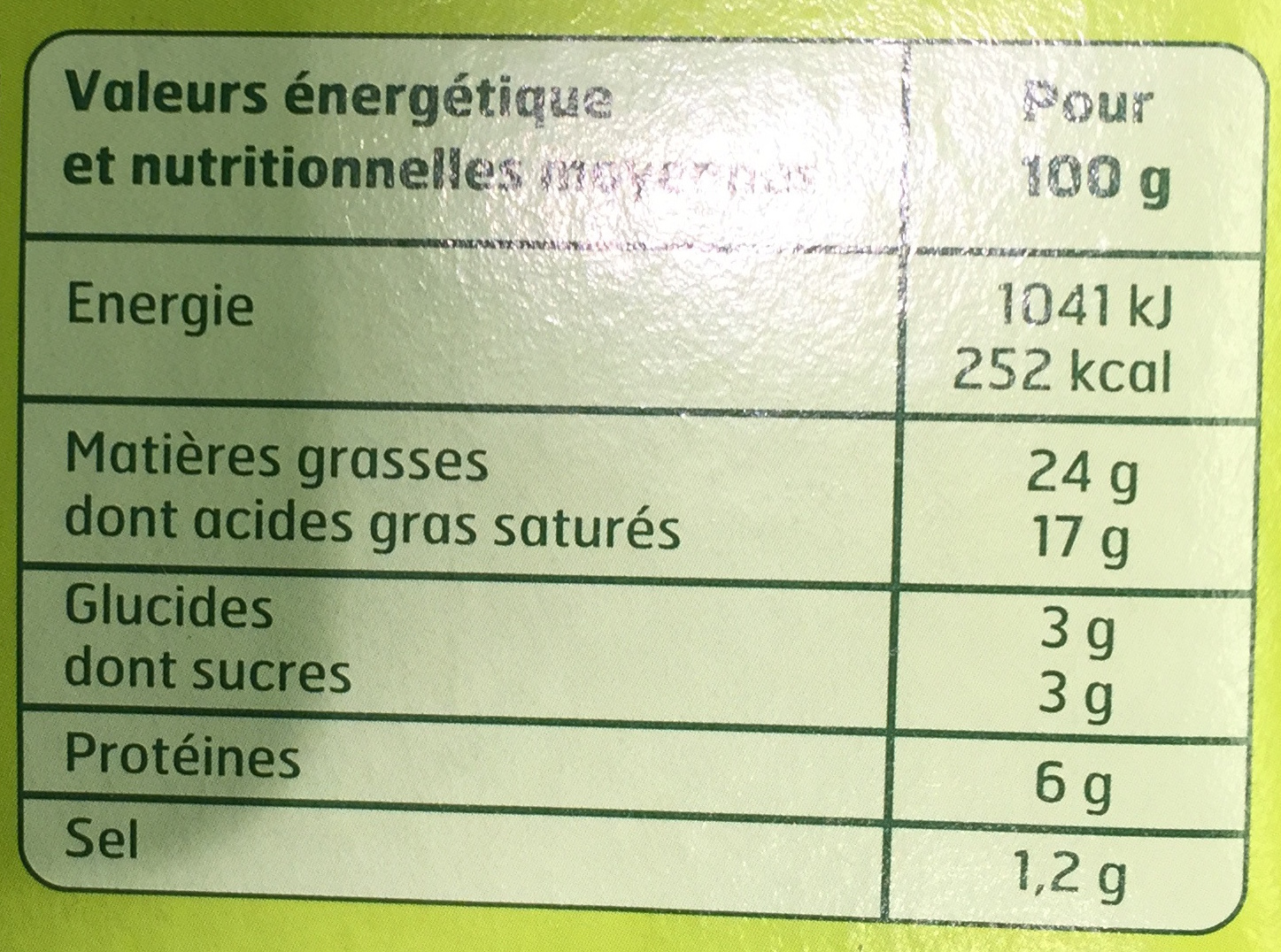 Fromage à tartiner, ail et fines herbes (24 % MG) - Informations nutritionnelles - fr