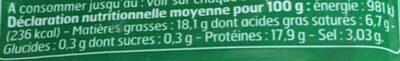 Lardons Allumettes Nature - Informations nutritionnelles