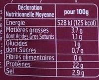 Bacon fumé sel sec - Informations nutritionnelles
