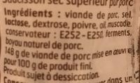 Saucisson sec - Ingredients - fr