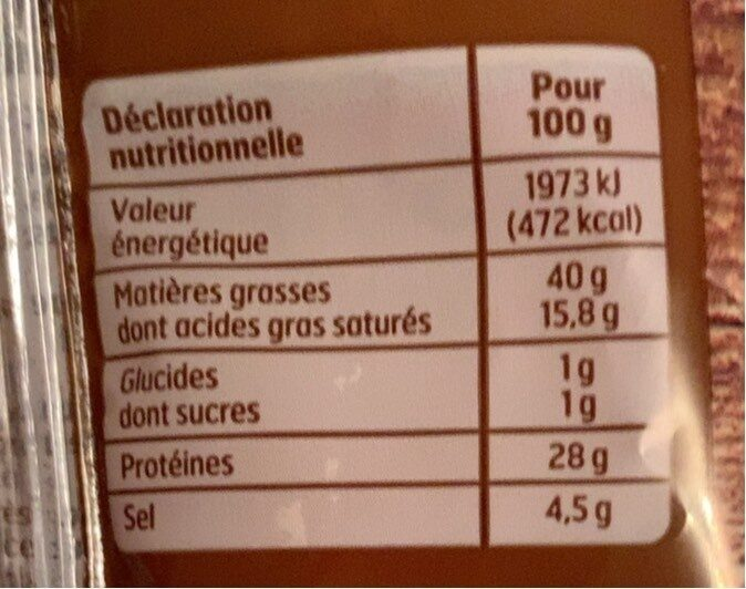 Saucisson sec - Nutrition facts - fr