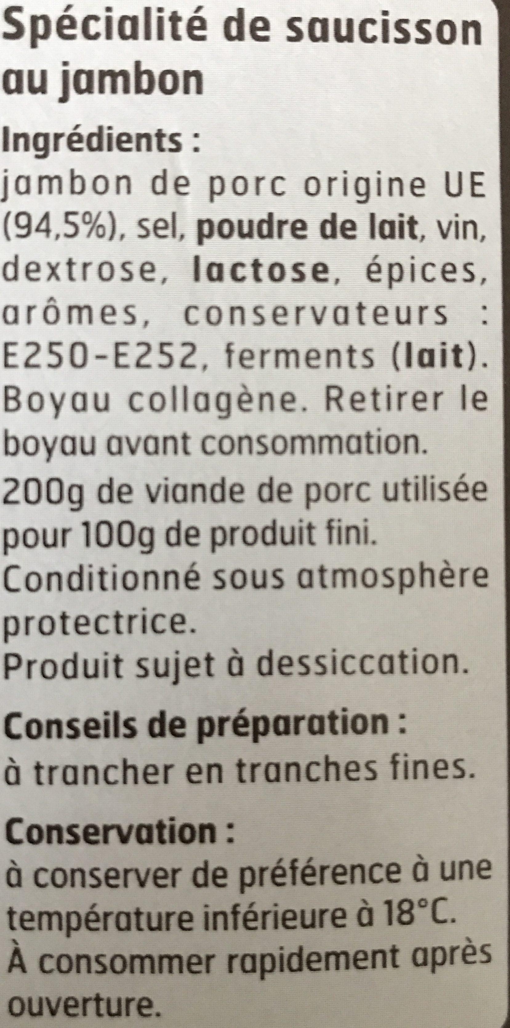 Spécialité de Saucisson au Jambon - Ingrédients - fr