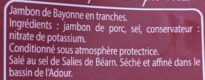 Jambon de Bayonne - Ingrédients - fr