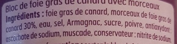 Bloc Fg Canard 30%% 200g - Ingredients