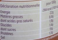 Mini Knacks, Pur porc (33 saucisses environ) - Informations nutritionnelles - fr
