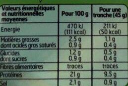 Belle France Jambon cuit Supérieur sans couenne - Voedingswaarden - fr