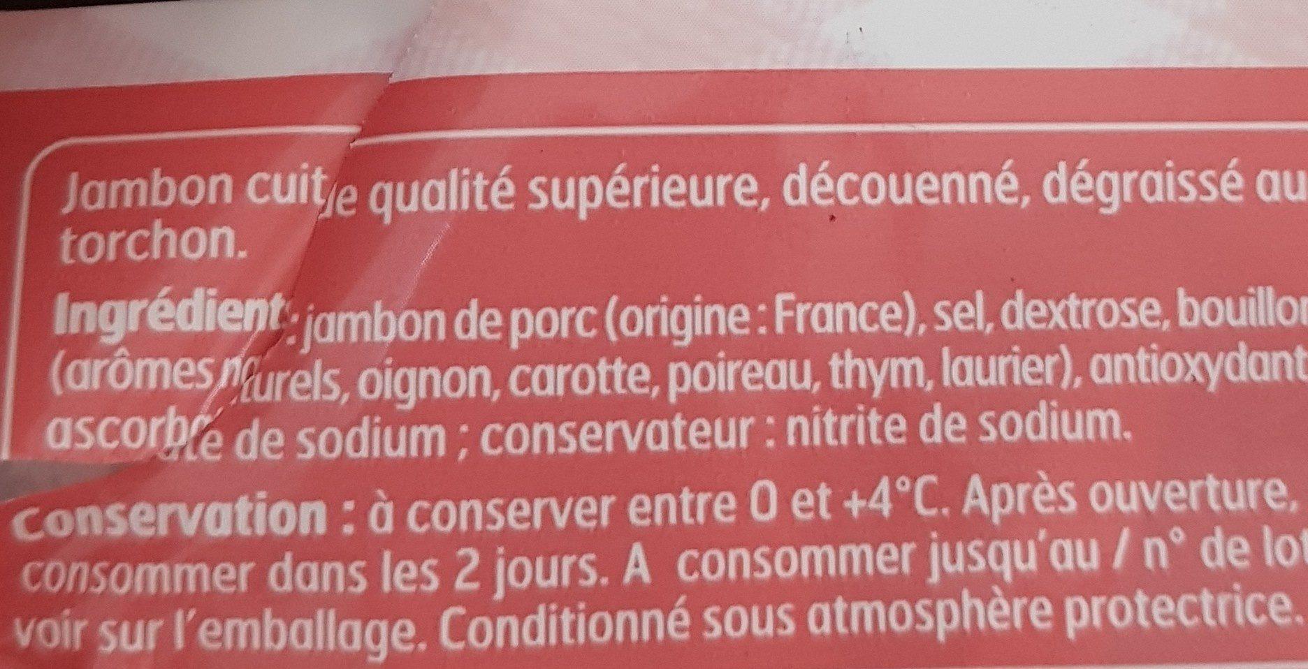 Jambon supérieur cuit au torchon - Ingrediënten - fr