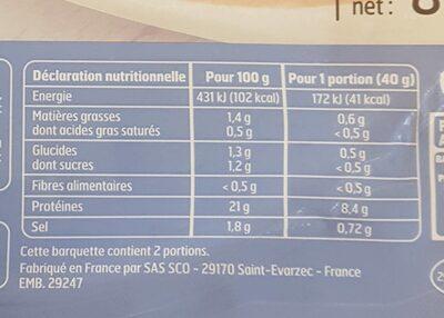 2 tr poulet - Voedingswaarden - fr