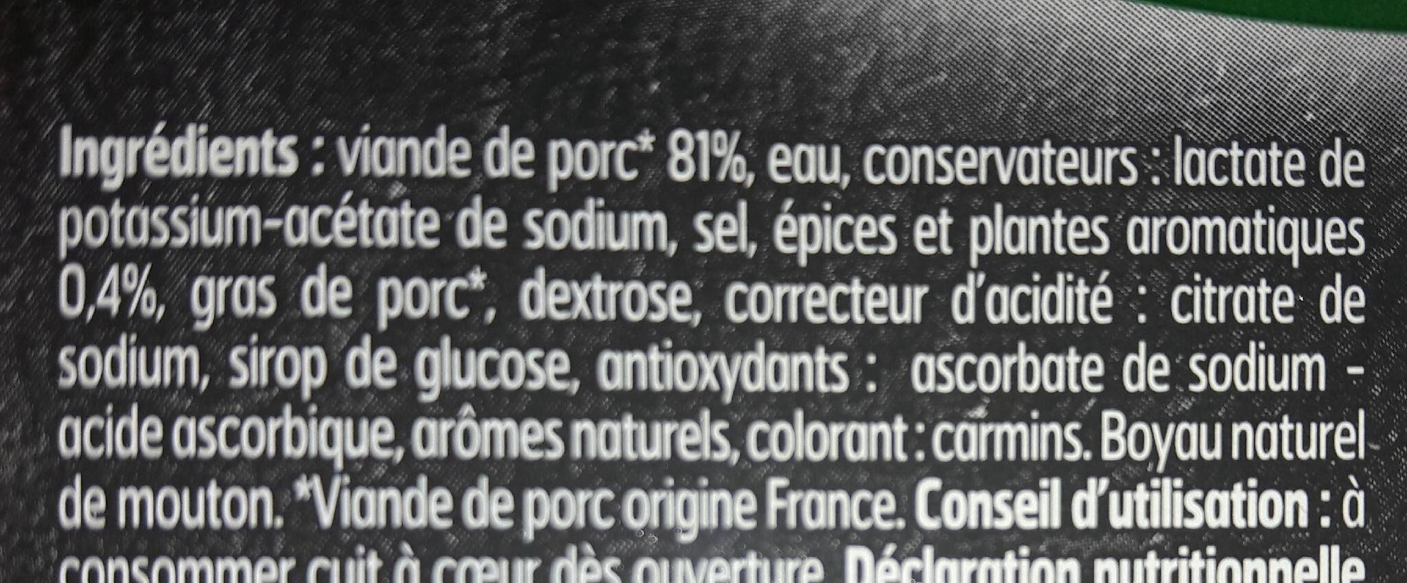 Chipolatas aux herbes - Ingrédients - fr