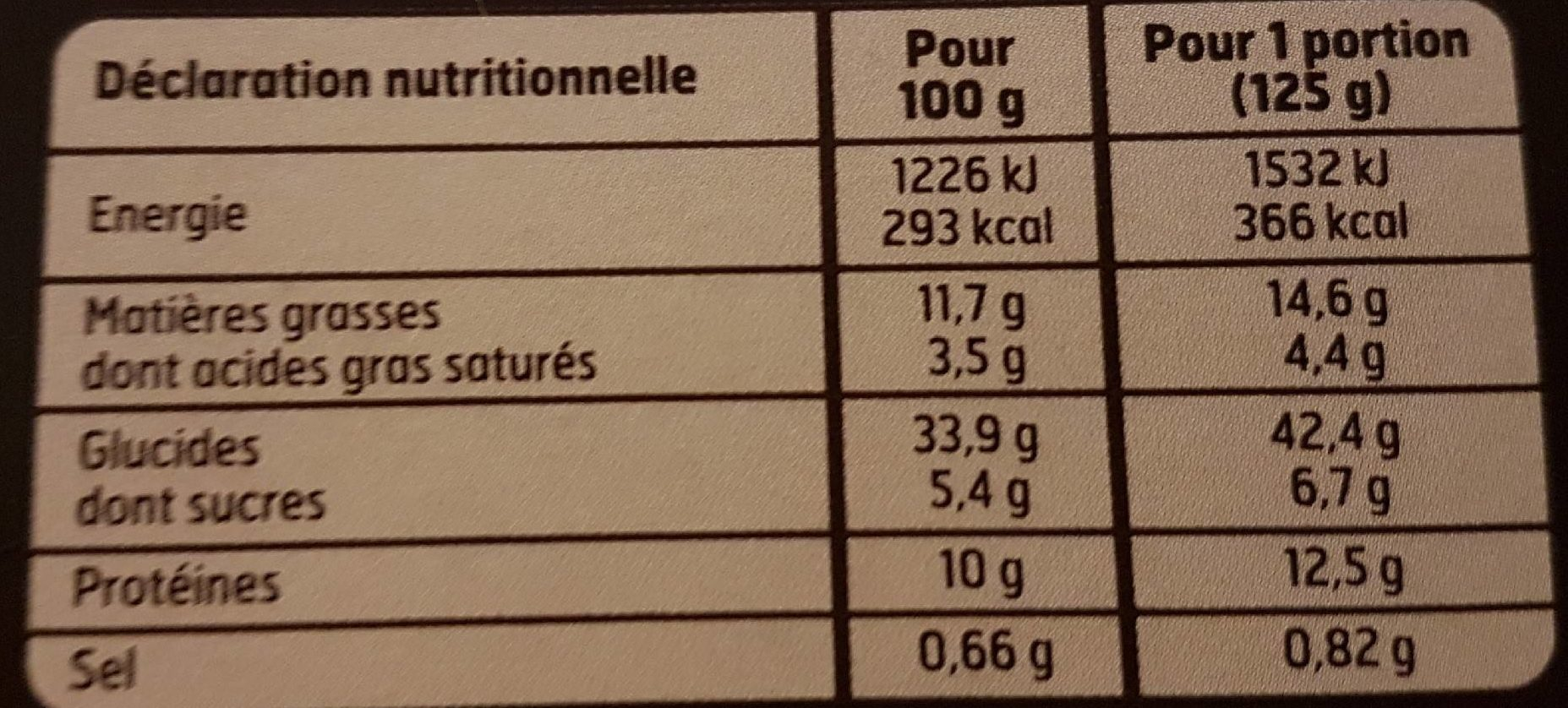 Girasole Tomate à la Mozzarella - Informations nutritionnelles - fr