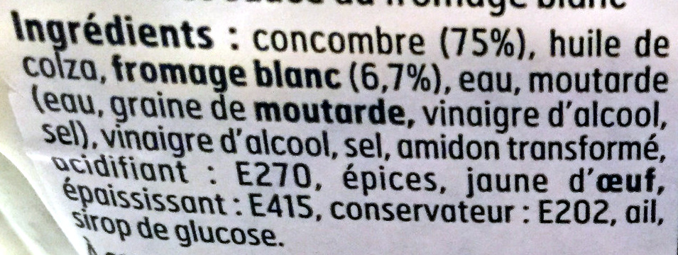 Concombres sauce fromage blanc - Ingredients