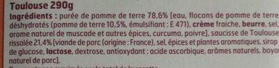 Saucisse Purée de pomme de terre - Ingrédients - fr