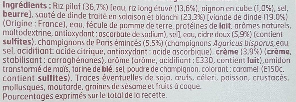 Sauté de Dinde à la Normande et riz Pilaf - Ingrédients - fr