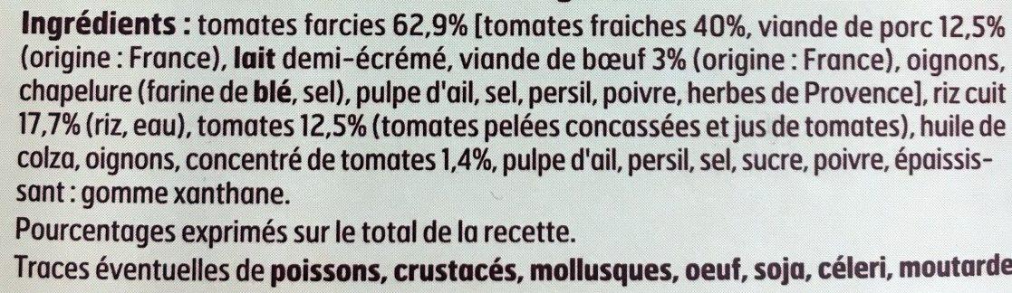 Tomates farcies et riz ling blanc - Ingrédients