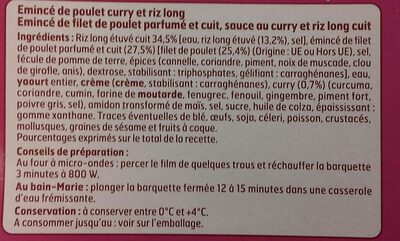 Émincé de Poulet au curry et riz long - Ingredients