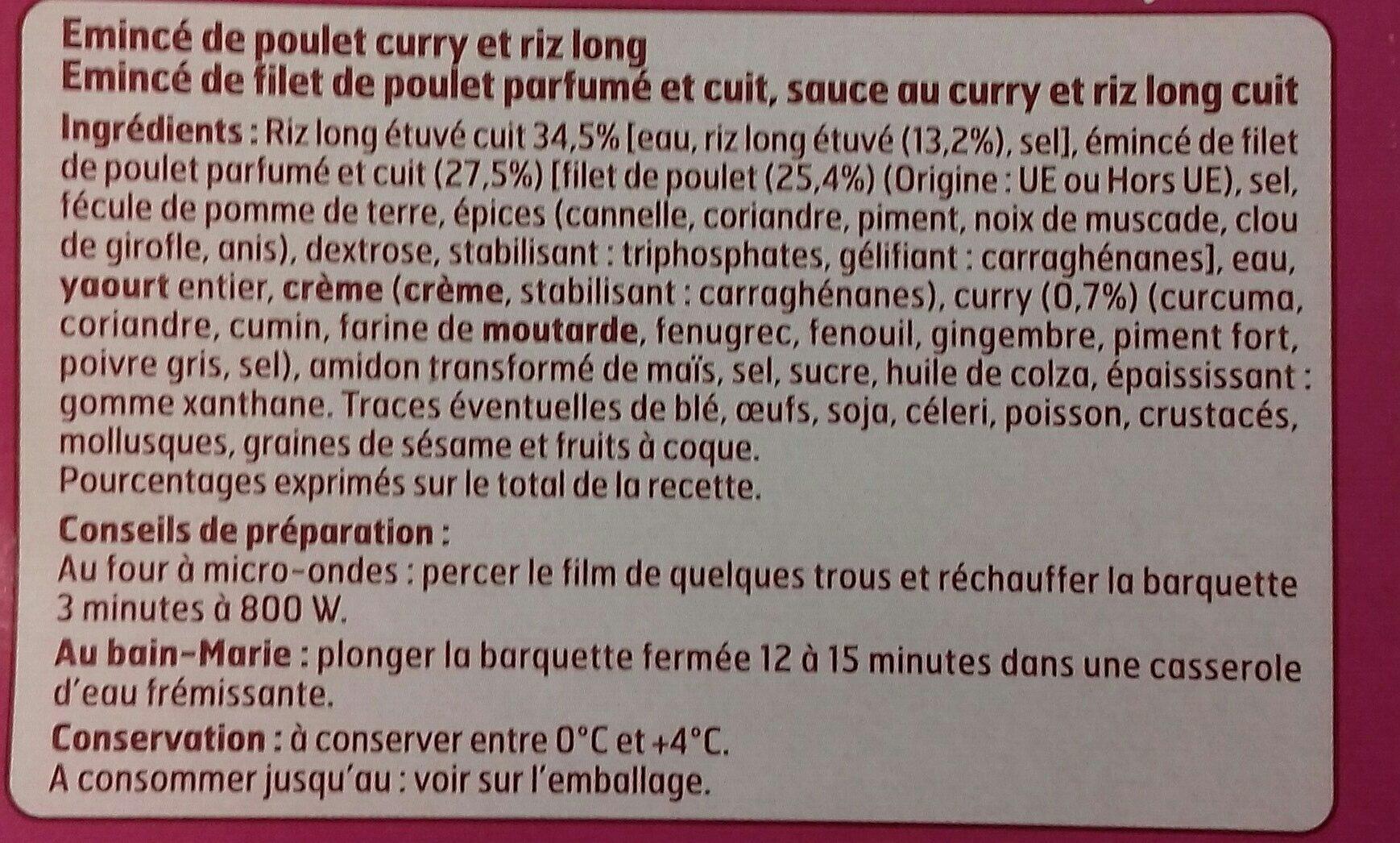 Émincé de Poulet au curry et riz long - Ingredients - fr