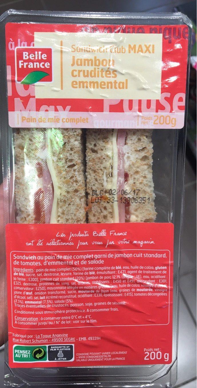 Sandwich Maxi Jambon crudités emmental - Produit - fr