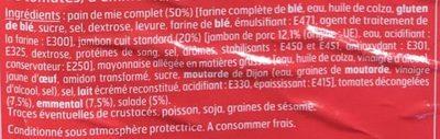 Sandwich Maxi Jambon crudités emmental - Ingredients