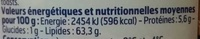 Tarama aux œufs de cabillaud (25 %) - Voedingswaarden - fr